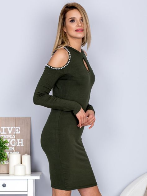Dopasowana sukienka cut out z perełkami khaki                              zdj.                              5