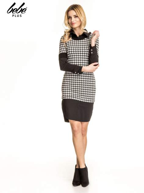 Dwuczęściowa sukienka w pepitkę z czarną koszulą                                  zdj.                                  5