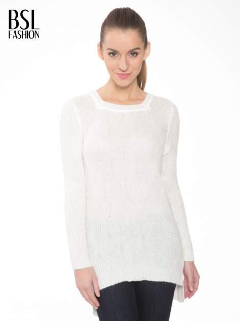 Ecru ażurowy długi sweter z rozporkami