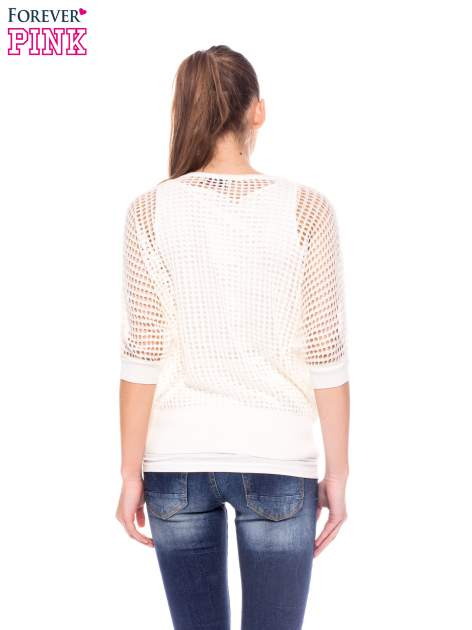 Ecru ażurowy sweter oversize                                  zdj.                                  4