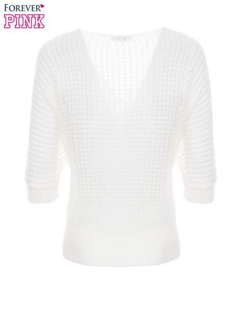 Ecru ażurowy sweter oversize                                  zdj.                                  6