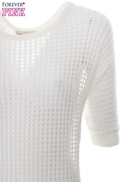 Ecru ażurowy sweter oversize                                  zdj.                                  5
