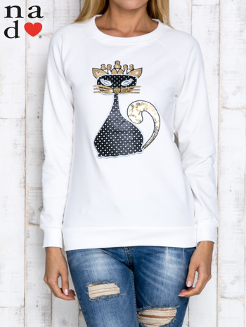 Ecru bluza z cekinowym kotem                                  zdj.                                  1