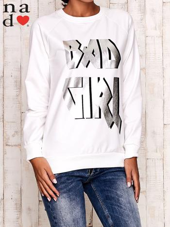 Ecru bluza z napisem BAD GIRL                                  zdj.                                  1