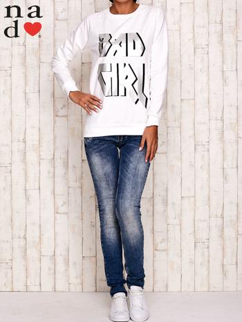 Ecru bluza z napisem BAD GIRL                                  zdj.                                  2