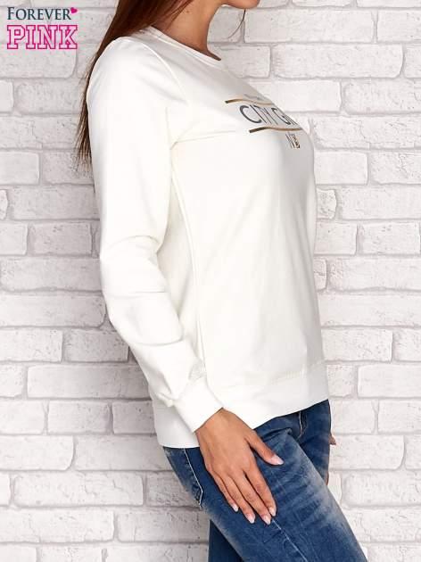 Ecru bluza z napisem CITY GIRL                                  zdj.                                  3