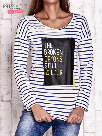 Ecru bluzka w paski z napisem                                  zdj.                                  1