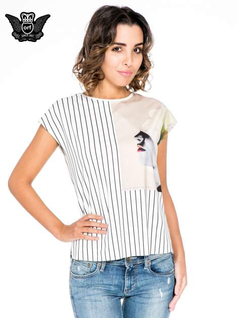 Ecru bluzka w paski z satynową wstawką                                  zdj.                                  1