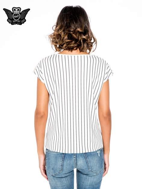 Ecru bluzka w paski z satynową wstawką                                  zdj.                                  5