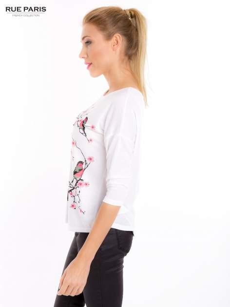 Ecru bluzka z floral printem                                  zdj.                                  3