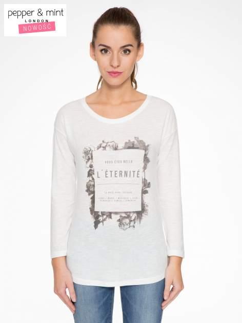 Ecru bluzka z nadrukiem kwiatowym i napisem L'ETERNITÉ                                  zdj.                                  1