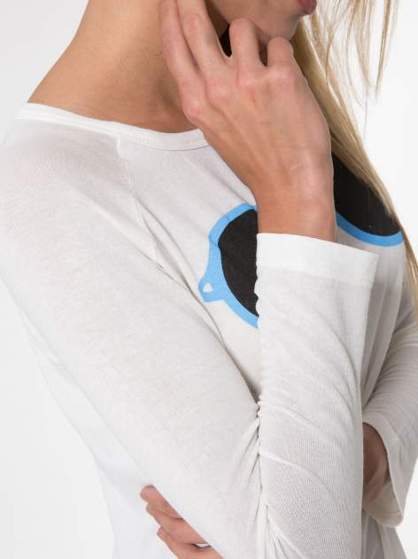 Ecru bluzka z nadrukiem okularów                                  zdj.                                  8