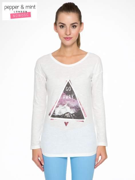 Ecru bluzka z nadrukiem trójkąta i napisem GO AWAY NOW                                  zdj.                                  1
