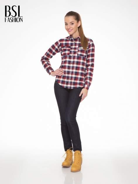 Ecru-bordowa damska koszula w kratę z kieszonkami                                  zdj.                                  5