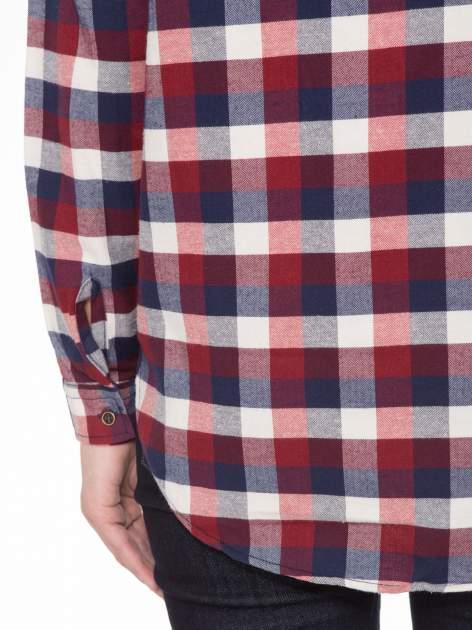 Ecru-bordowa damska koszula w kratę z kieszonkami                                  zdj.                                  8