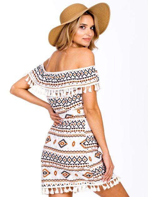 0a19edbe4daef3 1; Ecru-brązowa sukienka hiszpanka w azteckie wzory z pomponikami ...