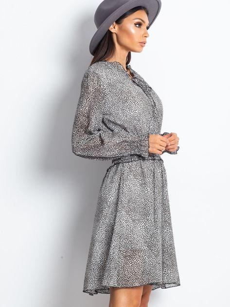 Ecru-brązowa sukienka w cętki                              zdj.                              3