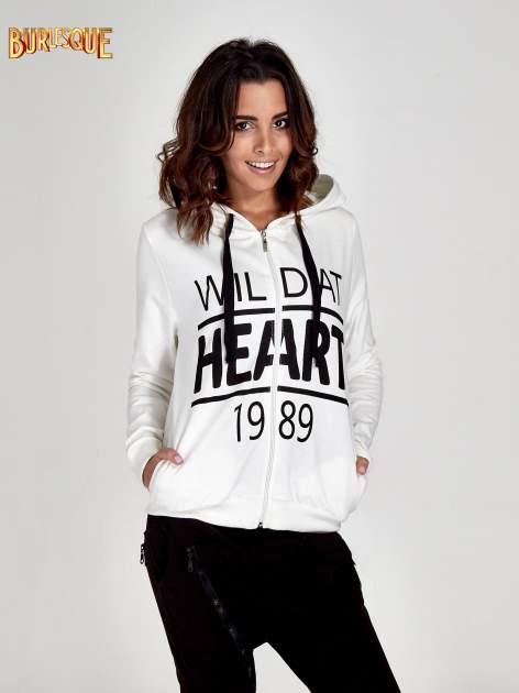 Ecru damska bluza z kapturem i napisem WILD AT HEART 1989                                  zdj.                                  1