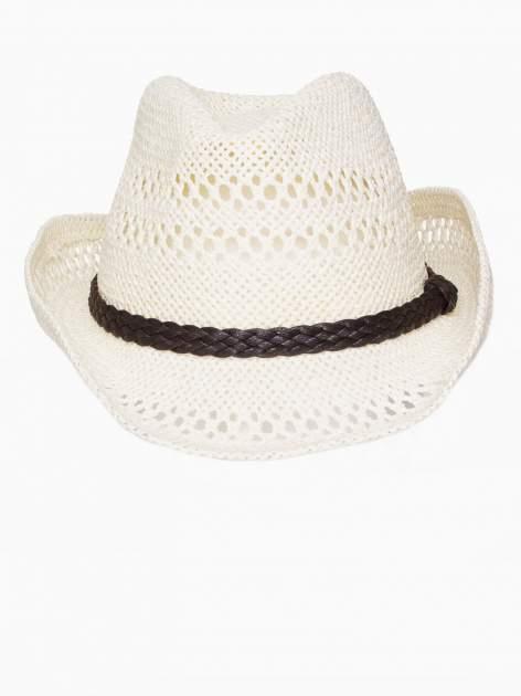 Ecru damski kapelusz kowbojski z ciemną plecionką                                  zdj.                                  6