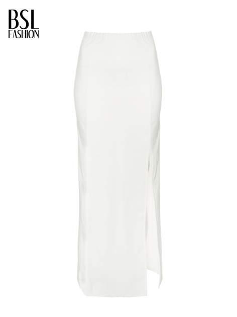 Ecru długa spódnica maxi z dwoma rozporkami z boku                                  zdj.                                  5