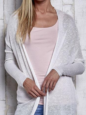 Ecru długi sweter wzór melanżowy                                  zdj.                                  6