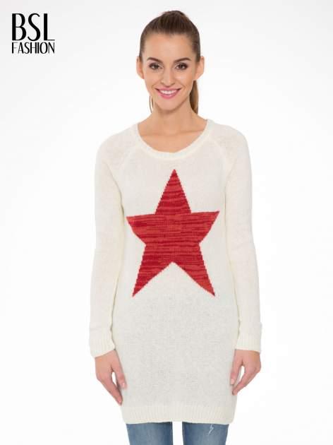 Ecru długi sweter z nadrukiem gwiazdy