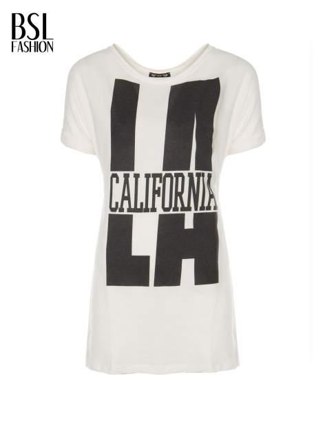 Ecru długi t-shirt z nadrukiem LA CALIFORNIA                                  zdj.                                  2