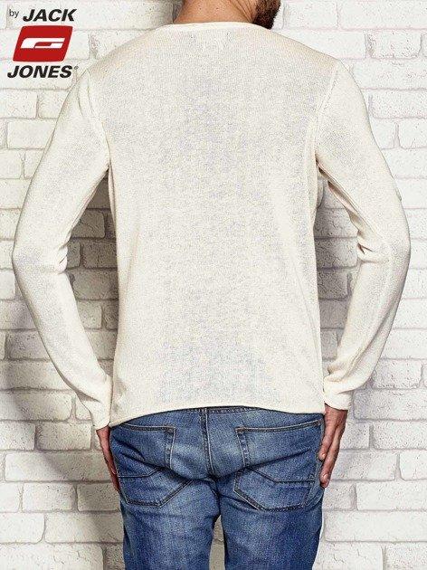 Ecru dziergany sweter męski