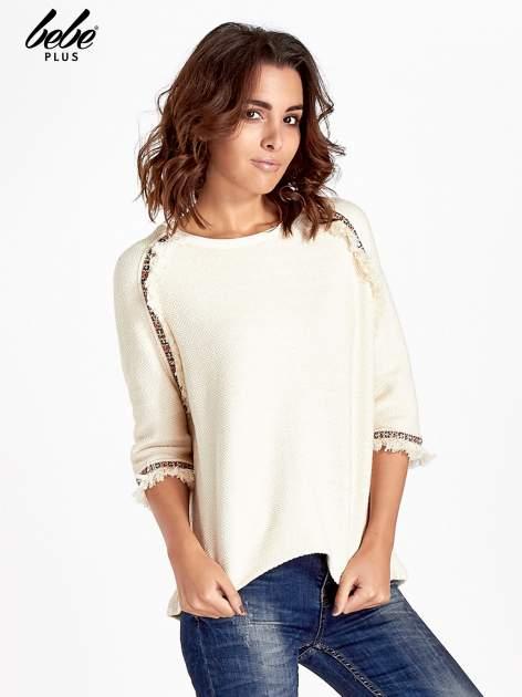 Ecru fakturowana bluza w stylu boho