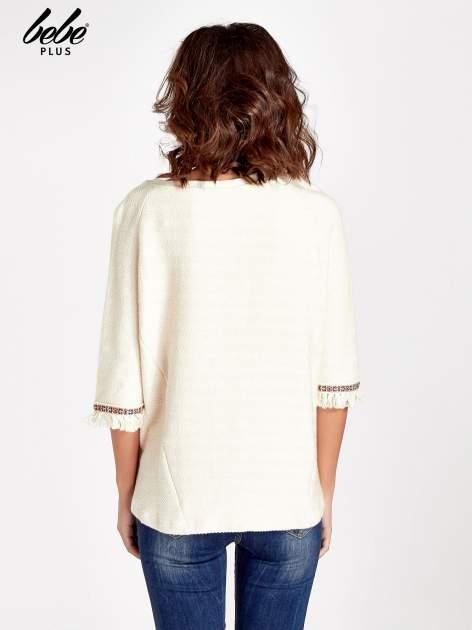 Ecru fakturowana bluza w stylu boho                                  zdj.                                  3