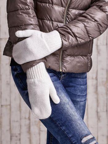Ecru gładkie rękawiczki z jednym palcem