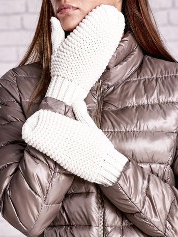 Ecru grube rękawiczki na jeden palec                                  zdj.                                  2
