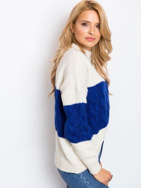 Ecru-kobaltowy sweter Ruffle                              zdj.                              6