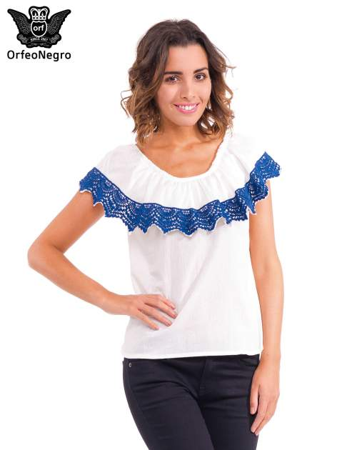 Ecru koszula z dekoltem hiszpańskim
