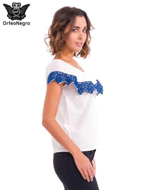 Ecru koszula z dekoltem hiszpańskim                                  zdj.                                  3