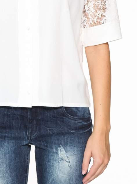 Ecru koszula z koronką i rękawami do łokcia                                  zdj.                                  7