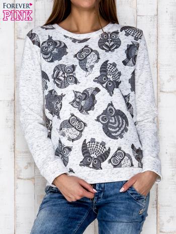 Ecru melanżowa bluza z nadrukiem sów                              zdj.                              1