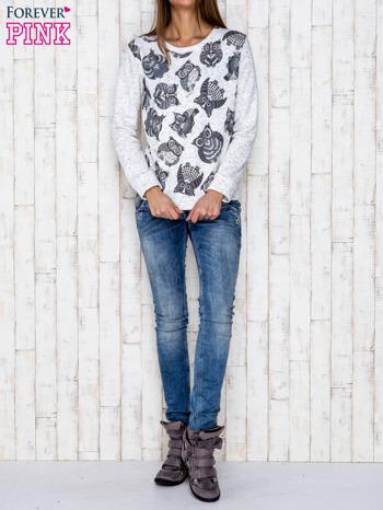 Ecru melanżowa bluza z nadrukiem sów                              zdj.                              4