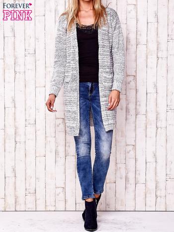 Ecru melanżowy otwarty sweter                                   zdj.                                  2