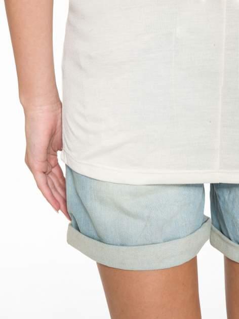 Ecru półtransparentna bluzka z łódkowym dekoltem i rękawami 3/4                                  zdj.                                  6