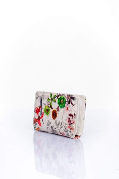 Ecru portfel z kwiatowym nadrukiem                                  zdj.                                  3