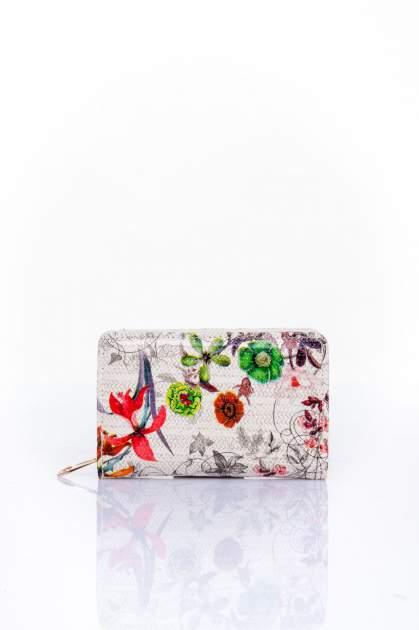 Ecru portfel z kwiatowym nadrukiem