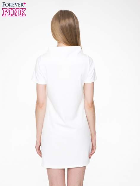 Ecru prosta sukienka z półgolfem                                  zdj.                                  4