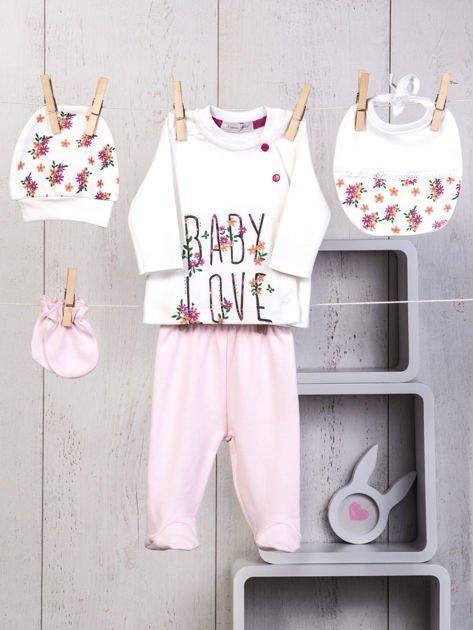 Ecru-różowy 5-elementowy 100% bawełniany zestaw niemowlęcy dla dziewczynki w kwiatuszki                                  zdj.                                  1