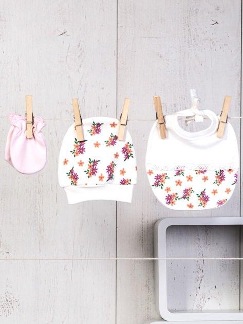 Ecru-różowy 5-elementowy 100% bawełniany zestaw niemowlęcy dla dziewczynki w kwiatuszki                              zdj.                              7