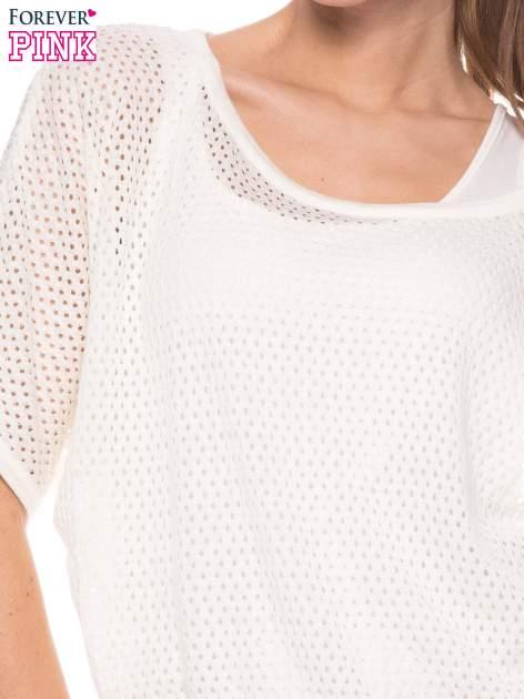 Ecru siateczkowy sweter oversize                                  zdj.                                  4
