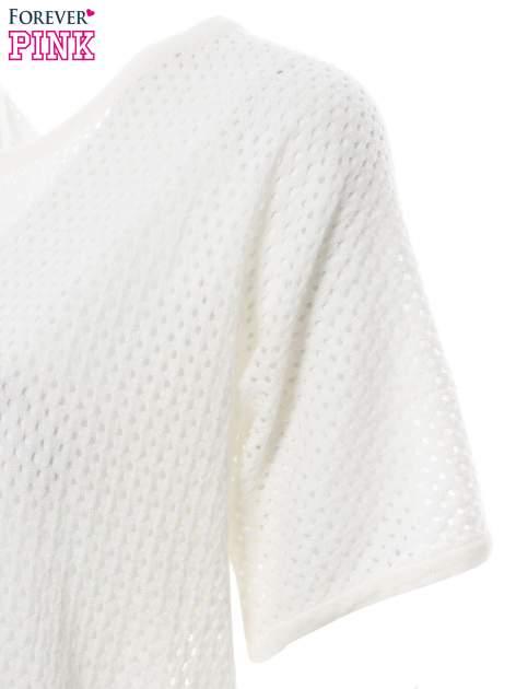 Ecru siateczkowy sweter oversize                                  zdj.                                  6