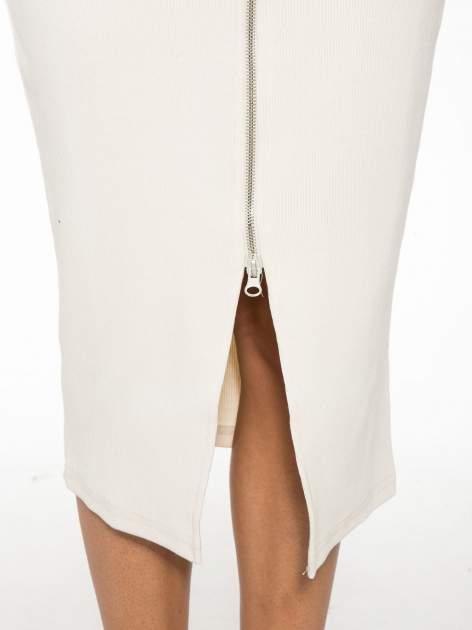 Ecru spódnica midi z suwakiem z przodu                                  zdj.                                  9