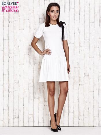 Ecru sukienka dresowa z kokardą z tiulu                                  zdj.                                  4