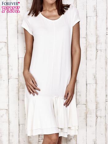 Ecru sukienka dresowa z ozdobną falbaną